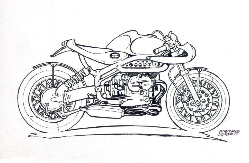 BMW Café-Racer à colorier.... dans GARAGE Motos flatBMRacer-a-colorier-1024x674